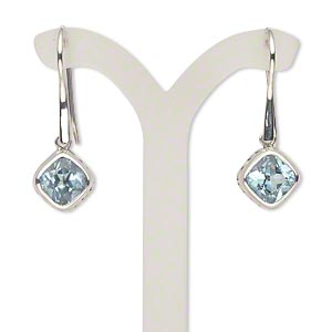 earring, sky blue topaz (irradiated) and antiqued sterling silver, 36-37mm with 9mm faceted diamond and fishhook earwire. sold per pair.