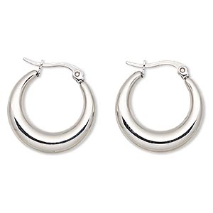 earring, stainless steel, 22mm round hoop. sold per pair.