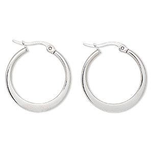 earring, stainless steel, 24mm round hoop. sold per pair.