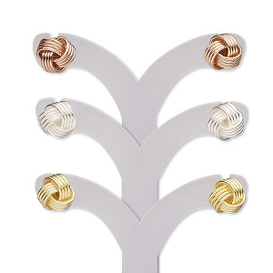 earring, sterling silver / gold- / rose gold-finished sterling silver, 8.5mm knot with post. sold per pkg of 3 pairs.