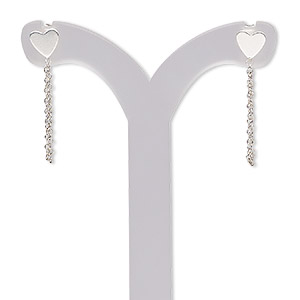 earring, sterling silver, 21mm with 6x5mm heart with chain and post, 21 gauge. sold per pair.