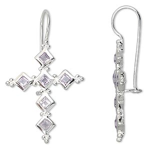 earring, sterling silver and amethyst (natural), 3mm faceted square, 41x24mm cross. sold per pair.