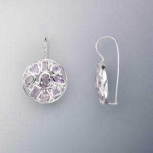 earring, sterling silver and amethyst (natural), 4mm round, 5mm triangle, 5x2mm and 6x3mm rectangles, 6x3mm marquise, 4mm square, 6x4mm teardrop, 7x5mm and 5x3mm oval, 32x23mm. sold per pair.