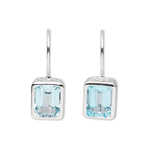 earring, sterling silver and blue topaz (irradiated), 24x9mm with 11x9mm faceted rectangle. sold per pair.