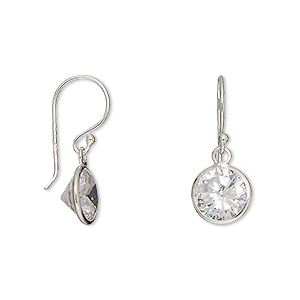 earring, sterling silver and cubic zirconia, clear, 22mm with 8mm faceted round and fishhook earwire. sold per pair.