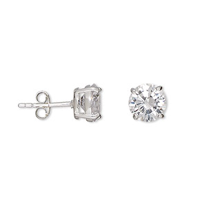 earring, sterling silver and cubic zirconia, clear, 8mm faceted round with post. sold per pair.