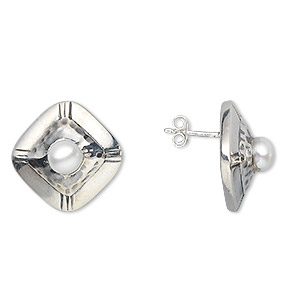 earring, sterling silver and cultured freshwater pearl, 6mm square, 17mm. sold per pair.