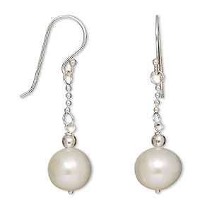 earring, sterling silver and cultured freshwater pearl, white, 9mm round drop with fishhook earwire, 35x9mm overall. sold per pair.