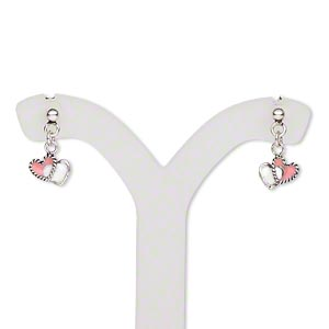 earring, sterling silver and enamel, white / pink / purple / red, 7x5mm single-sided double heart drop and earstud, 13x7mm overall, earnuts included. sold per set of 3 pairs.