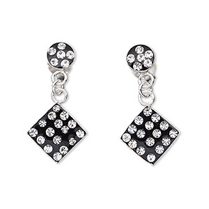 earring, sterling silver with swarovski crystals, black and crystal clear, 11x11mm diamond dangle. sold per pair.