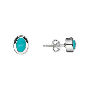 earring, turquoise (stabilized) and sterling silver, 9mm with 7x5mm oval and post. sold per pair.