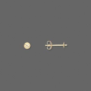 earstud, 14kt gold, 3mm cup with peg, fits 3-5mm half-drilled bead. sold per pair.
