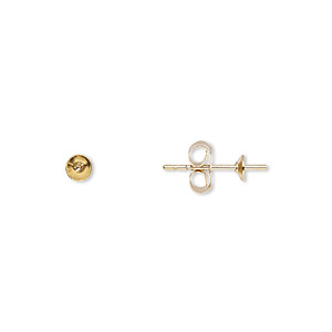 earstud, 14kt gold-filled, 3mm cup with 2mm peg, fits 3-5mm half-drilled bead. sold per pkg of 5 pairs.