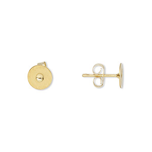 earstud, 14kt gold-filled post with 6mm gold-plated brass flat pad, 14kt gold-filled earnuts included. sold per pkg of 5 pairs.