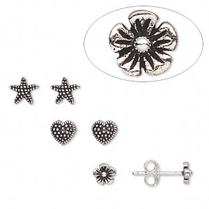 earstud, antiqued sterling silver, 4x4mm-6x6mm assorted shapes. sold per pkg of 3 pairs.