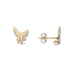 earstud, brass and brass-plated stainless steel, 11x9mm matte butterfly with hidden closed loop. sold per pkg of 2 pairs.