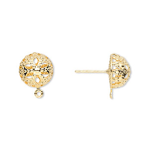 earstud, gold-plated brass and stainless steel, 10mm filigree dome with closed loop. sold per pkg of 5 pairs.
