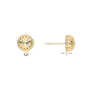 earstud, gold-plated brass and stainless steel, 8mm filigree dome with closed loop. sold per pkg of 5 pairs.