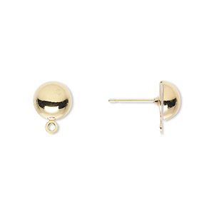 earstud, gold-plated brass and stainless steel, 8mm half ball with closed loop. sold per pkg of 50 pairs.