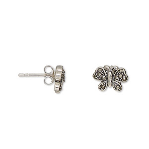 earstud, signity marcasite (natural) and antiqued sterling silver, 10x8mm butterfly with post. sold per pair.