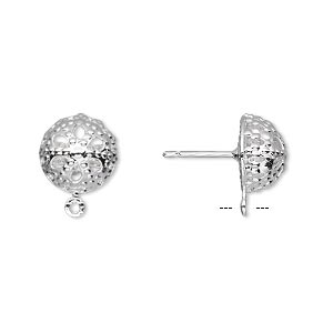 earstud, silver-plated brass and stainless steel, 10mm filigree dome with closed loop. sold per pkg of 50 pairs.