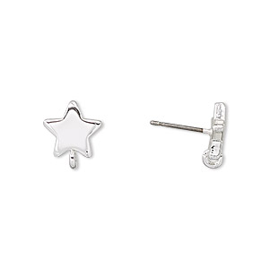 earstud, silver-plated steel and stainless steel, 9x9mm star with closed loop. sold per pkg of 2 pairs.