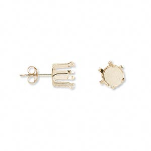 earstud, snap-tite, 14kt gold, 8mm 6-prong round setting sold per pair.