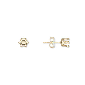 earstud, snap-tite, 14kt gold-filled, 5mm 6-prong round setting. sold per pair.