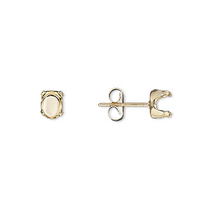 earstud, snap-tite, 14kt gold-filled, 6x4mm 4-prong oval setting sold per pair.
