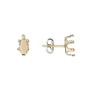 earstud, snap-tite, 14kt gold-filled, 8x4mm 6-prong marquise setting. sold per pair.