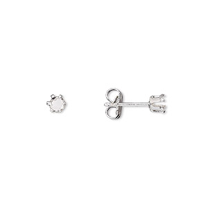 earstud, snap-tite, sterling silver, 3mm 6-prong round setting. sold per pkg of 2 pairs.
