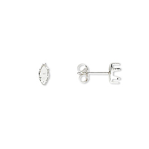 earstud, snap-tite, sterling silver, 6x3mm 6-prong marquise setting. sold per pkg of 2 pairs.