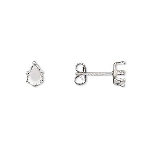 earstud, snap-tite, sterling silver, 6x4mm 6-prong pear setting. sold per pkg of 2 pairs.