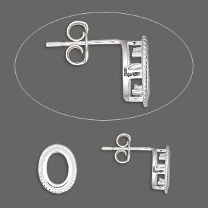 earstud, sterling silver, 10x8mm rope-edged oval with 7x5mm oval setting. sold per pair.