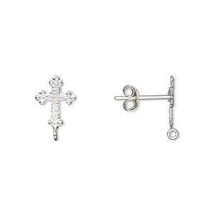 earstud, sterling silver, 11x8mm cross with closed loop. sold per pair.