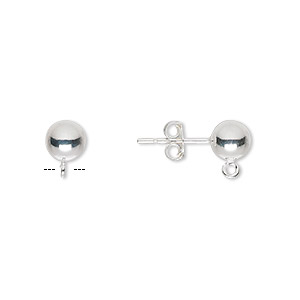 earstud, sterling silver, 6mm ball with open loop. sold per pkg of 2 pairs.