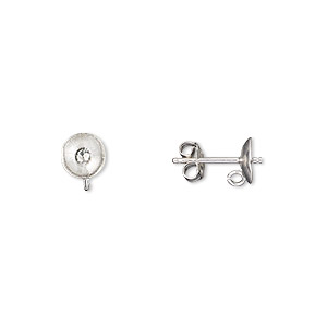 earstud, sterling silver, 6mm cup with peg and open loop, fits 6mm bead. sold per pair.
