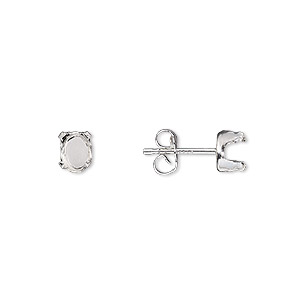 earstud, sterling silver, 6x4mm 4-prong oval setting. sold per pkg of 2 pairs.