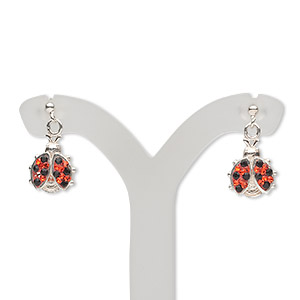 earstud, sterling silver and crystal, black and hyacinth, 14x9mm ladybug. sold per pair.