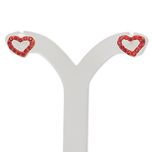 earstud, sterling silver and crystal, light siam, 10x7mm open heart. sold per pair.