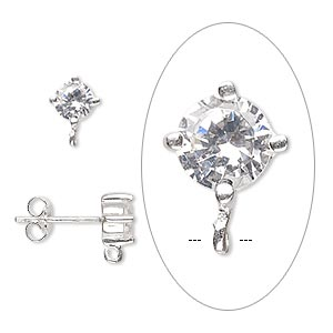 earstud, sterling silver and cubic zirconia, clear, 9x6mm with 5mm faceted round and open loop. sold per pair.