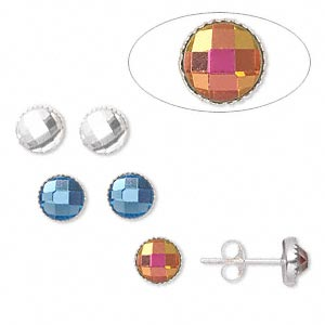 earstud, sterling silver and glass, assorted colors, 6mm round with serrated edges. sold per pkg of 3 pairs.