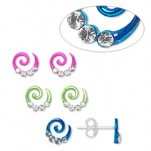 earstud, sterling silver and rhinestone, assorted colors, 7mm swirl shape. sold per pkg of 3 pairs.