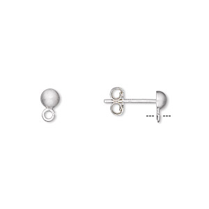 earstud, sterling silver with satin finish, 4mm half-ball with loop. sold per pkg of 5 pairs.