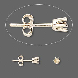 earstud, sure-set™, 14kt gold, 3mm 6-prong round setting. sold per pair.
