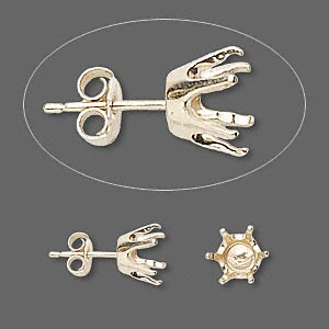 earstud, sure-set™, 14kt gold, 7mm 6-prong round setting. sold per pair.