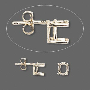 earstud, sure-set™, 14kt gold, 7x5mm with 4-prong oval basket setting. sold per pair.