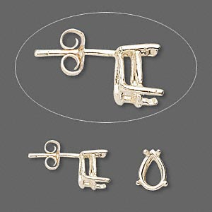 earstud, sure-set™, 14kt gold, 9x6mm with 4-prong pear basket setting. sold per pair.