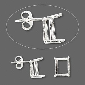 earstud, sure-set™, sterling silver, 10x8mm with 4-prong emerald-cut basket setting. sold per pair.