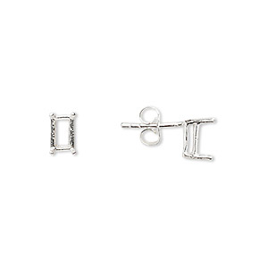 earstud, sure-set™, sterling silver, 6x4mm with 4-prong emerald-cut basket setting. sold per pair.